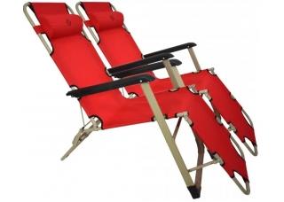 Комплект шезлонгов для дачи 180 см красный (2 шт)