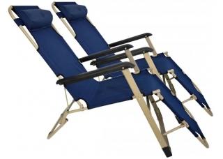 Комплект шезлонгов для дачи 180 см темно-синий (2 шт)