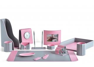Настольный набор из кожи Cuoietto Серый/Розовый 13 предметов