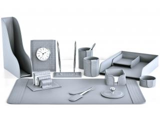 Настольный набор из кожи Cuoietto Treccia/Серый 13 предметов