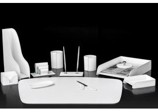 Настольный набор из кожи Cuoietto Белый 12 предметов
