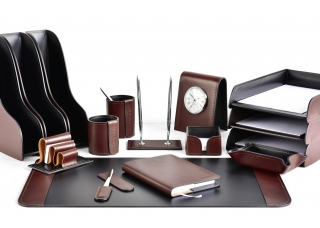 Настольный набор из кожи FG Bologna /Сuoietto Черный 15 предметов