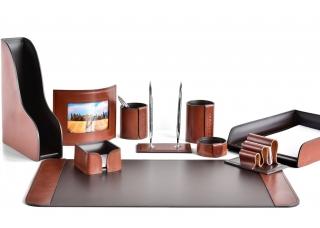 Настольный набор из кожи FG Tan/Сuoietto Шоколад 10 предметов