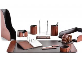 Настольный набор из кожи FG Tan/Сuoietto Шоколад 11 предметов