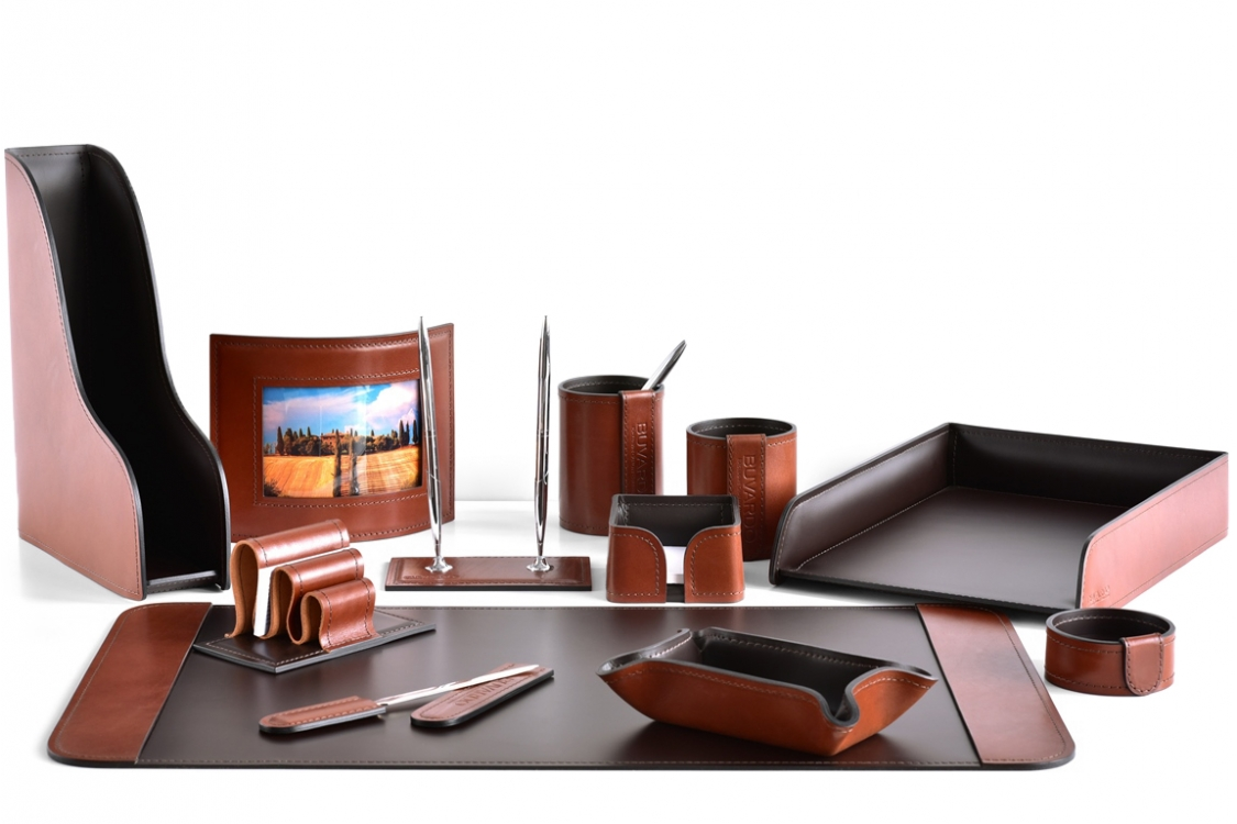 Настольный набор из кожи FG Tan/Сuoietto Шоколад 12 предметов