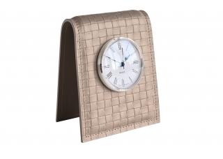 Настольные часы D85, кожа Сuoietto, цветtreccia/cafe latte