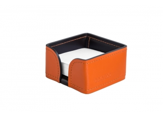 Лоток для блока бумаги, кожа Сuoietto, цветоранж/шоколад