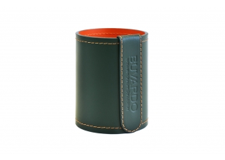 Стакан канцелярский, высотой 12 см, кожа Сuoietto, цвет Зеленый/Оранж