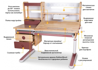Детский стол-парта Mealux Oxford Wood Max